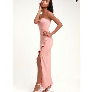 Lulus Blush Pink Strapless Ruffled Maxi dress
